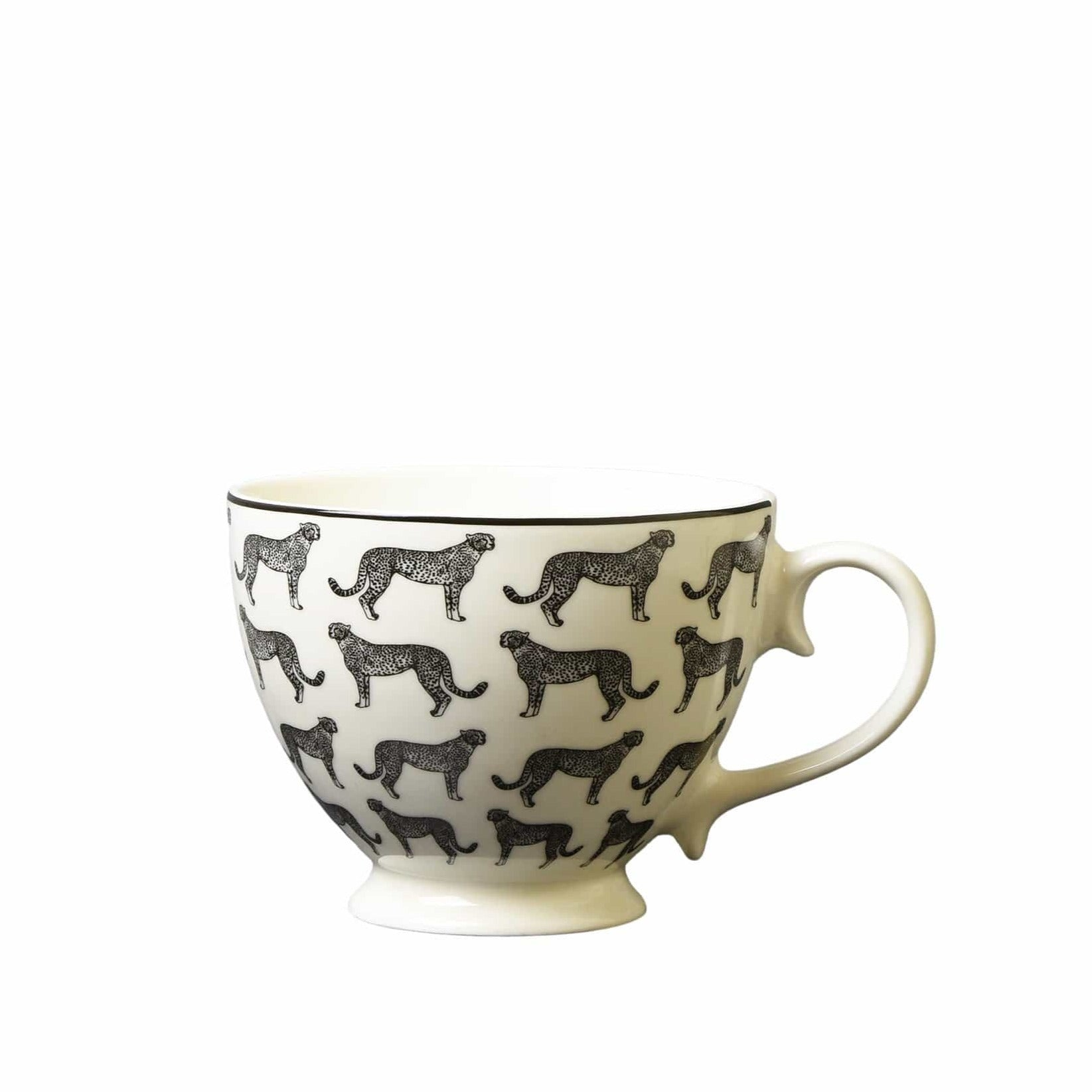Candlelight Home Mug Animal Luxe Footed Mug All Over Leopard Print Black 6PK