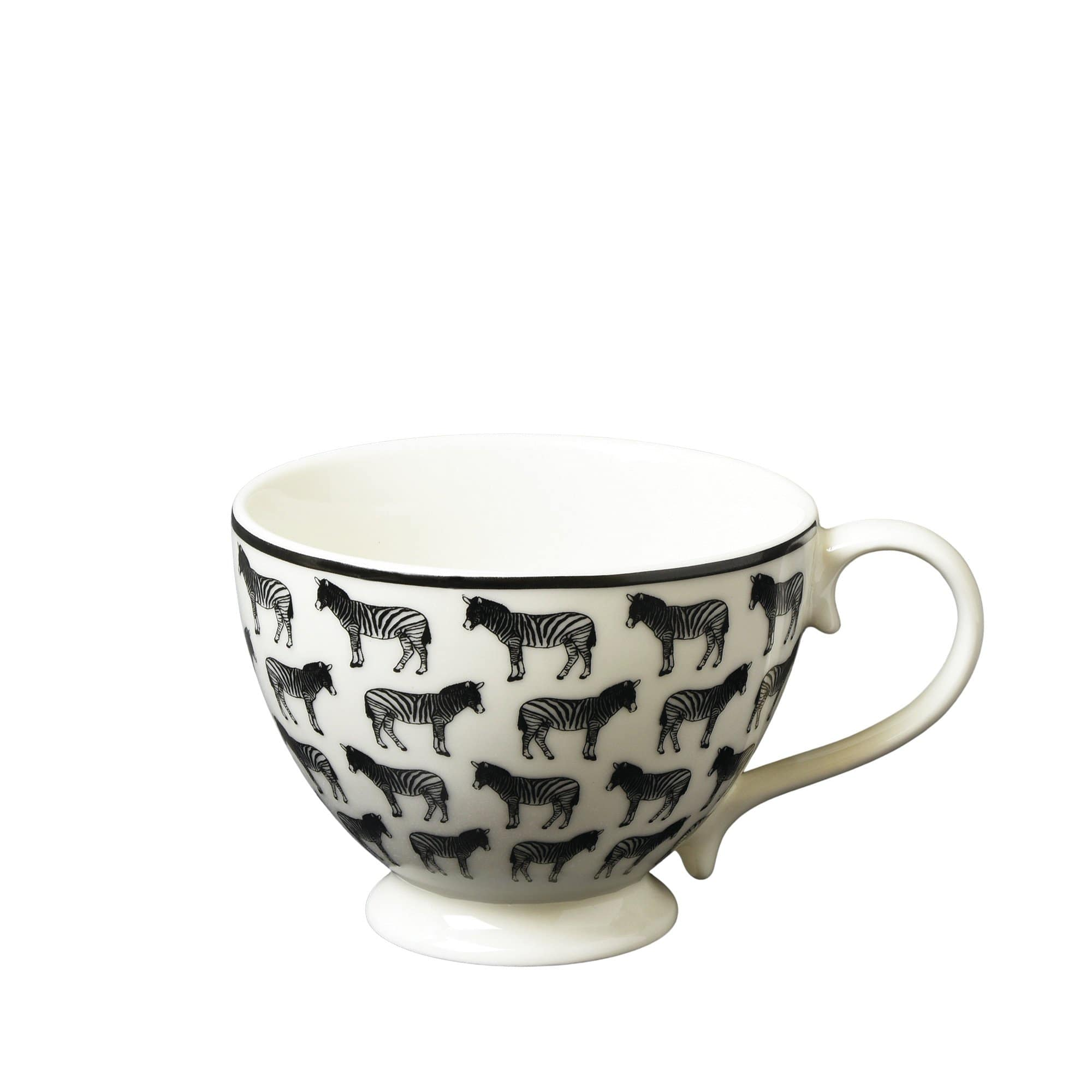 Candlelight Home Mug Animal Luxe Footed Mug All Over Zebra Print Black 6PK