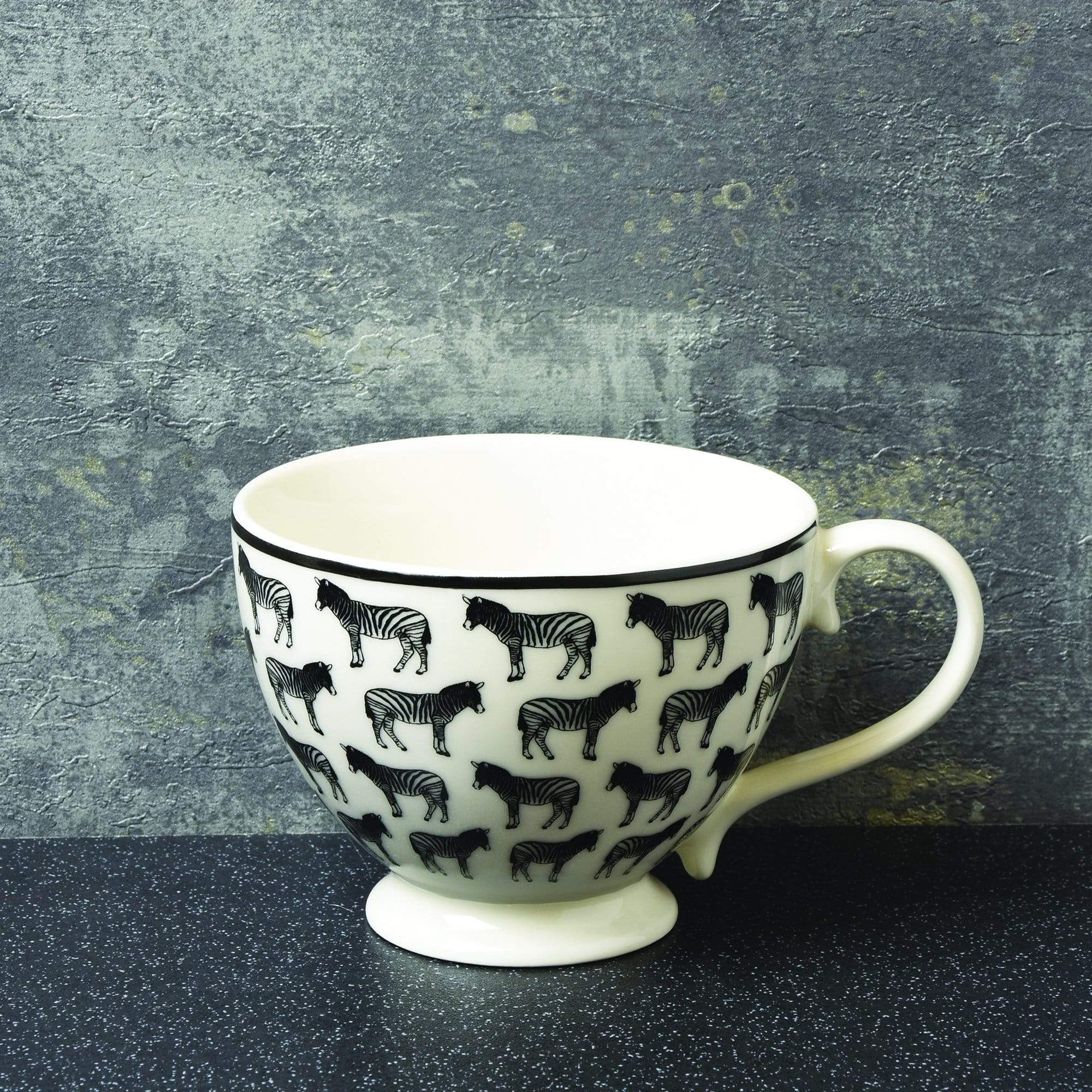 Animal Luxe Footed Mug All Over Zebra Print Black 6PK