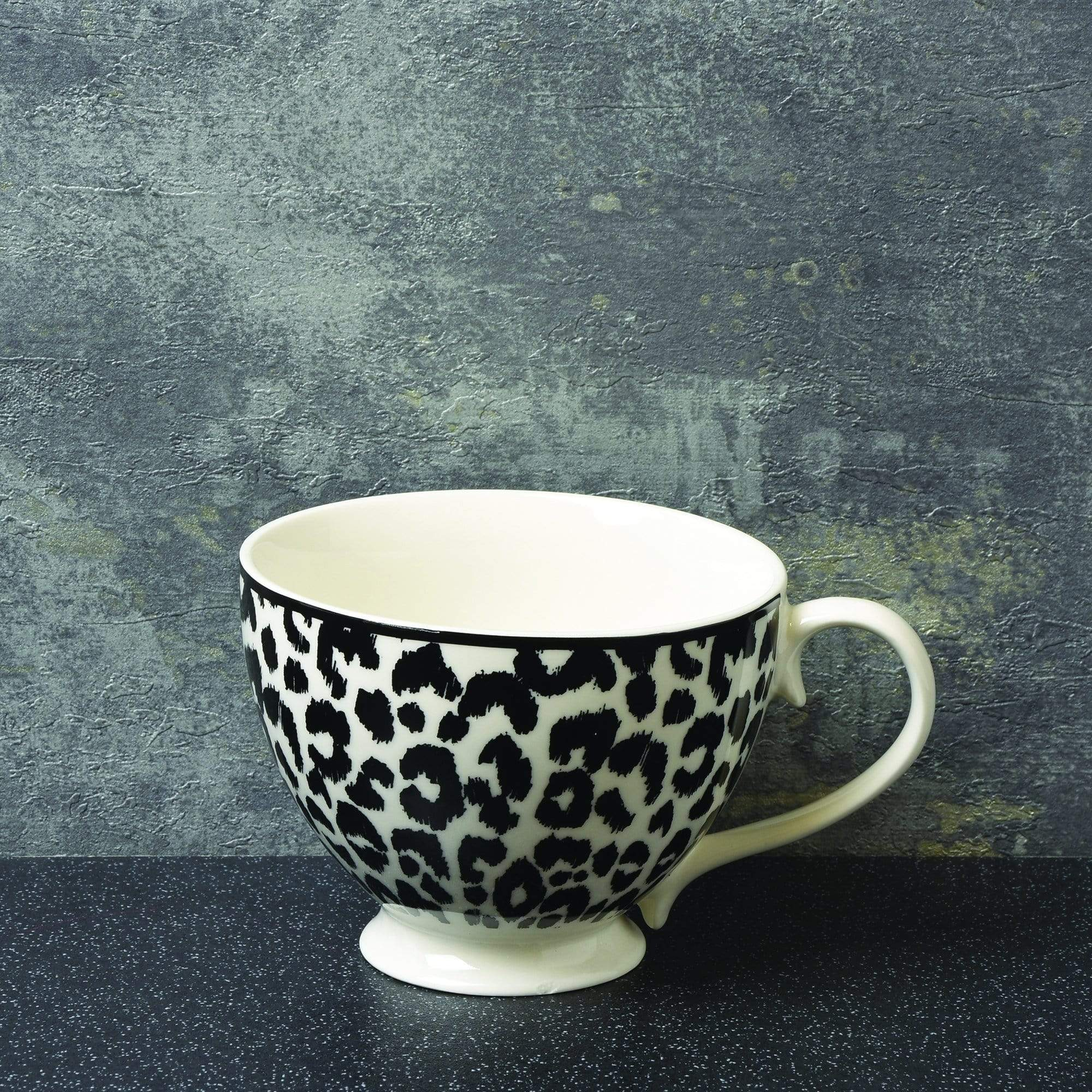 Animal Luxe Footed Mug Leopard Print Black 6PK