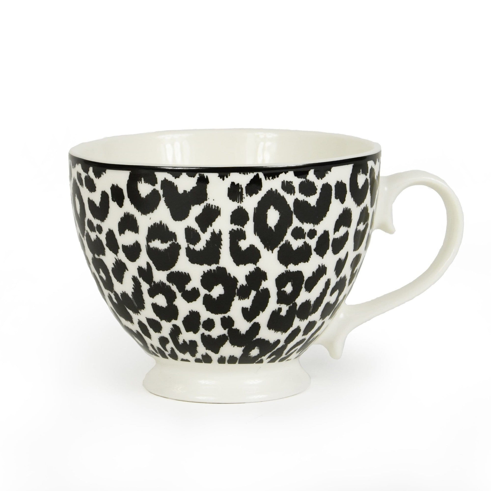Candlelight Home Mug Animal Luxe Footed Mug Leopard Print Black 6PK