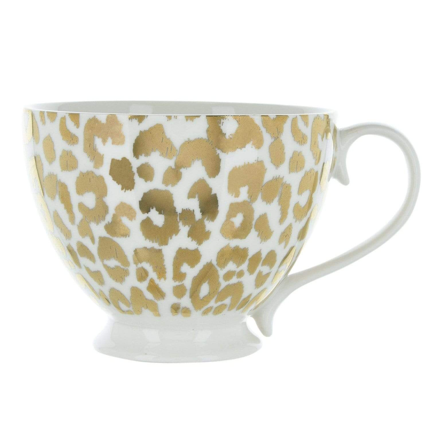 Candlelight Home Mug Animal Luxe Footed Mug Leopard Print Gold 6PK