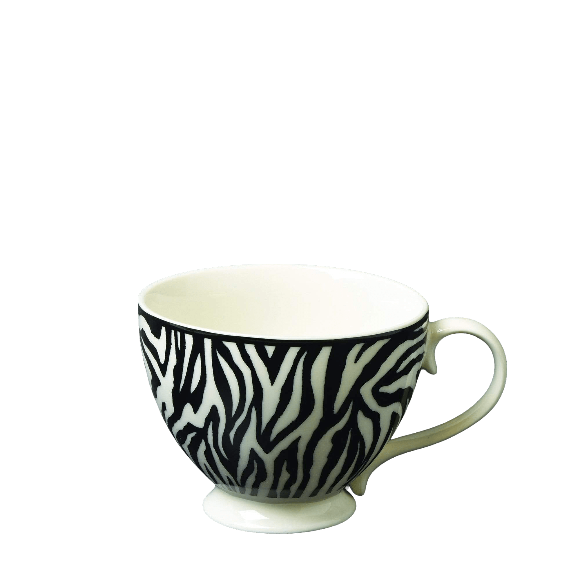 Candlelight Home Mug Animal Luxe Footed Mug Zebra Print Black 6cm 6PK