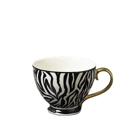 Candlelight Home Mug Animal Luxe Footed Mug Zebra Print Black with Gold Handle 6PK