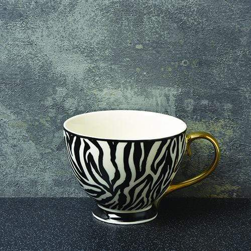 Candlelight Home Mug Animal Luxe Footed Mug Zebra Print Black with Gold Handle 9.7cm 6PK