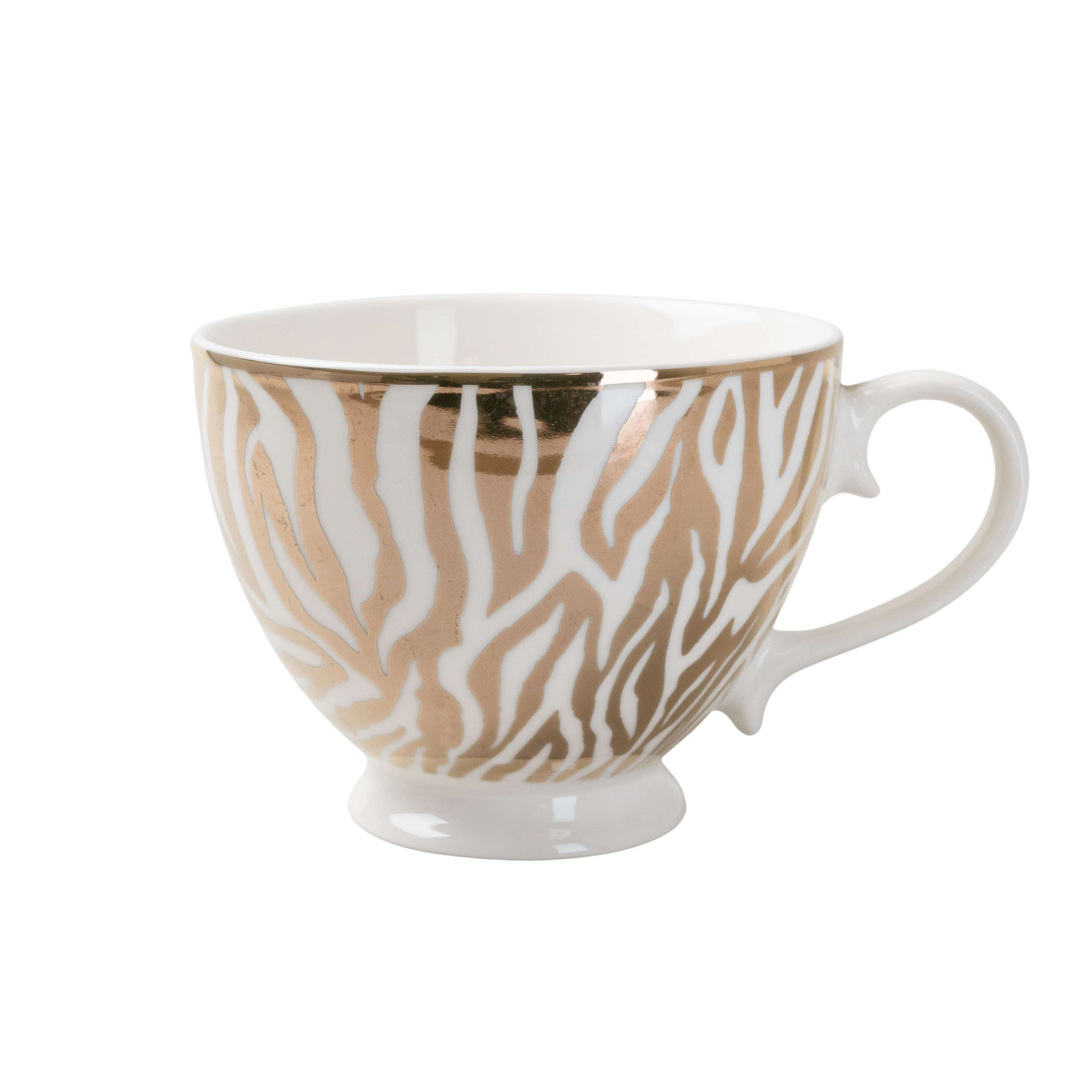 Candlelight Home Mug Animal Luxe Footed Mug Zebra Print Gold 6PK