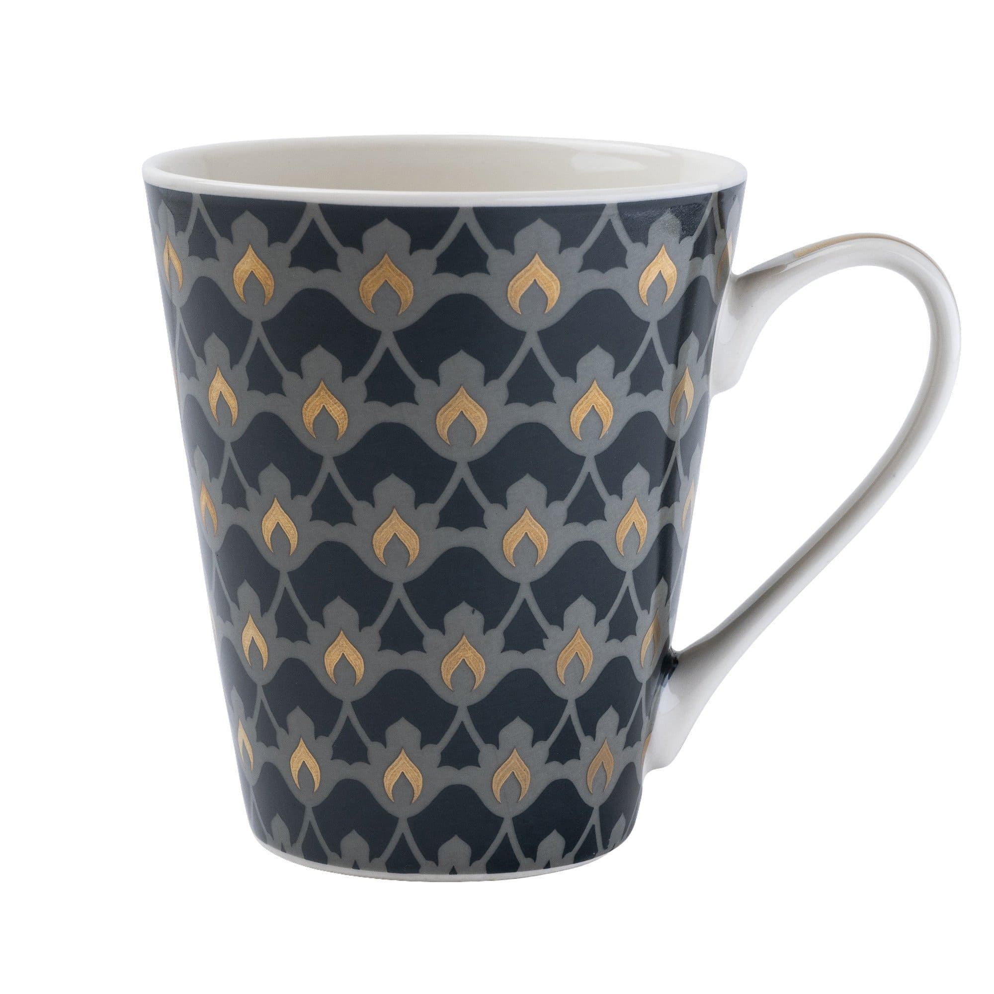 Conical Mug Oriental Heron Design with Gold Handle 6PK