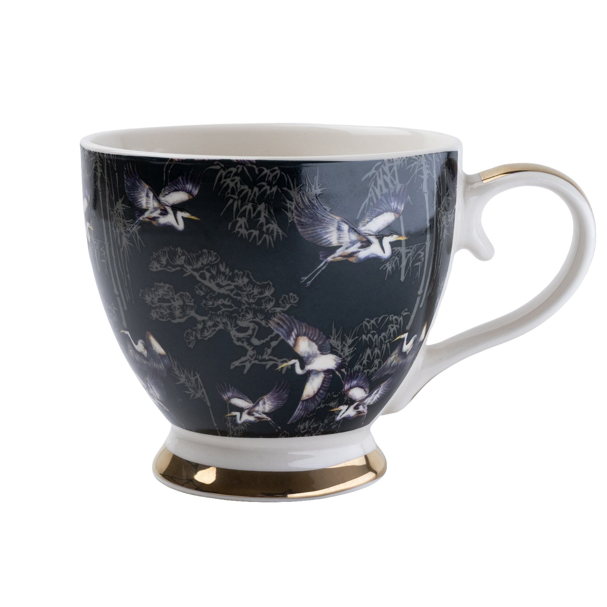 Footed Mug in Oriental Heron Design with Gold Rim in Gift Box 6PK