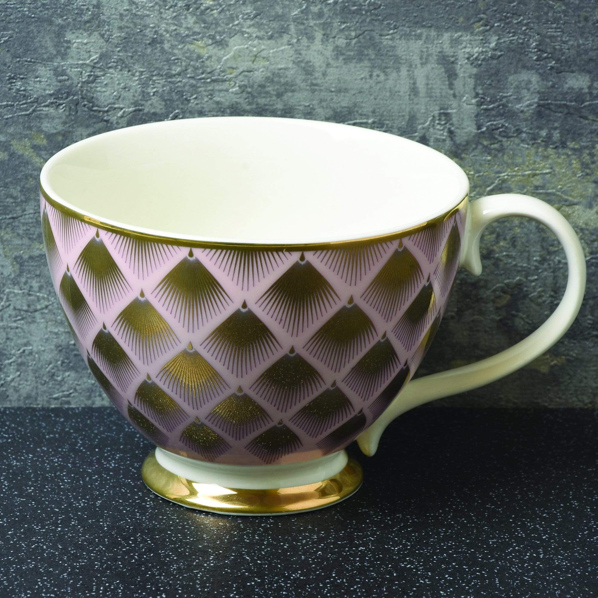 Candlelight Home Mug Footed Mug with Fan Design Gold 6.5cm 6PK