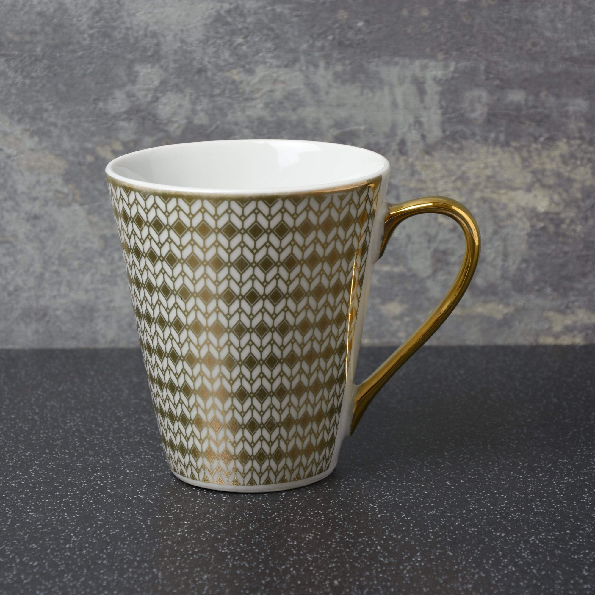 Conical Mug with Geometric Design White and Gold 6PK