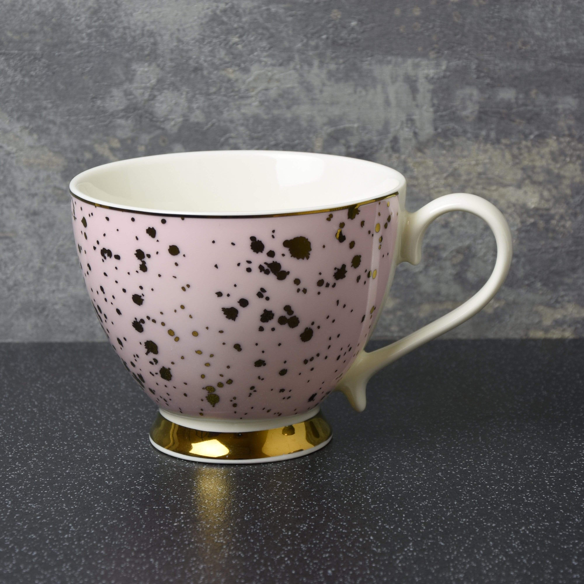 Deco Glam Footed Mug with Speckles Pink and Gold 6.5cm 6PK