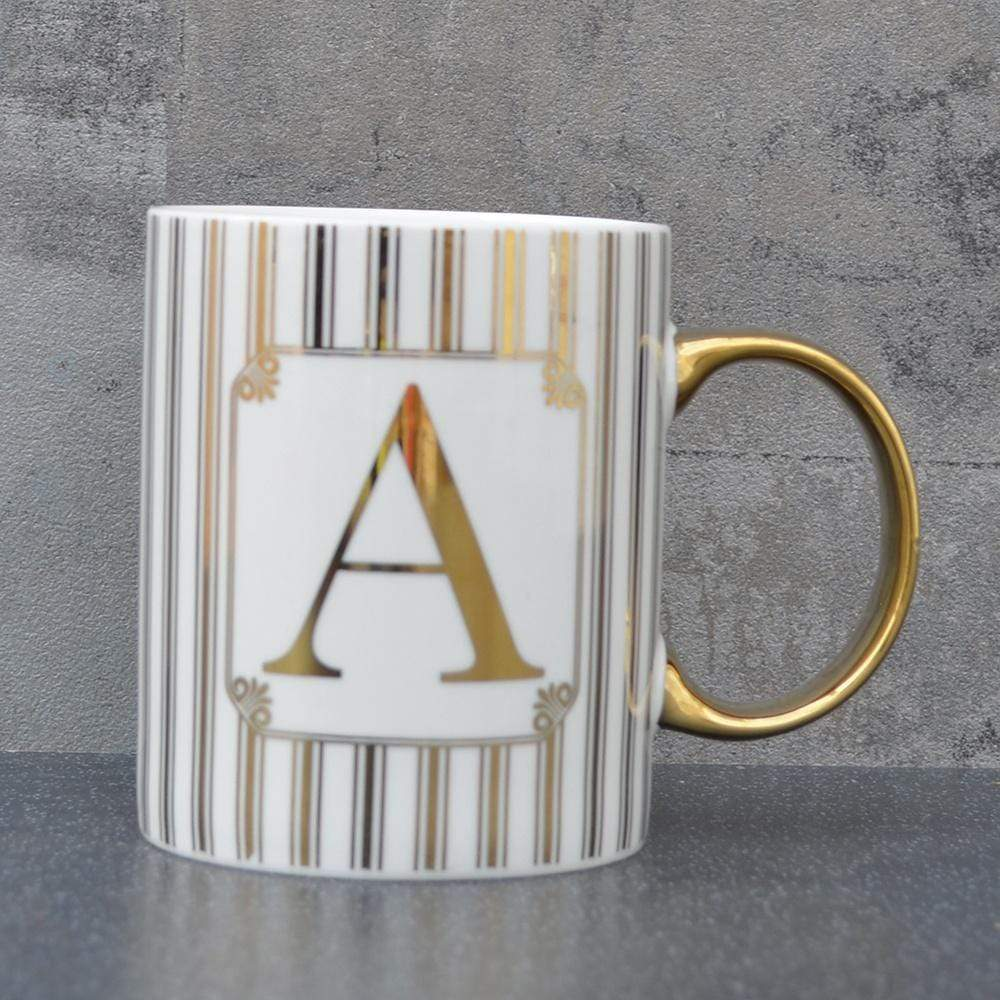 Initial Straight Sided Mug A Gold 8cm 6PK