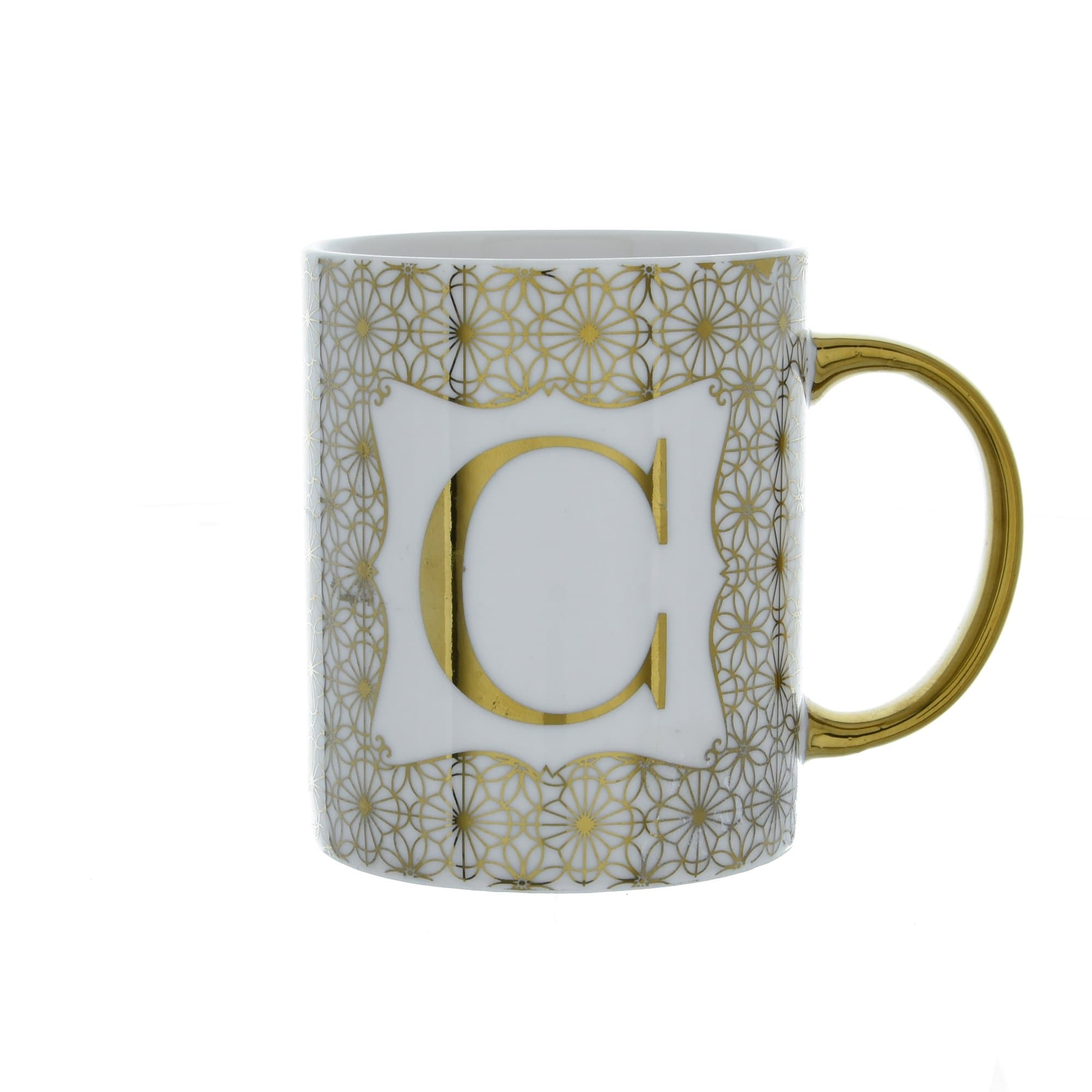 Candlelight Home Mugs Initial Straight Sided Mug C Gold 8cm 6PK