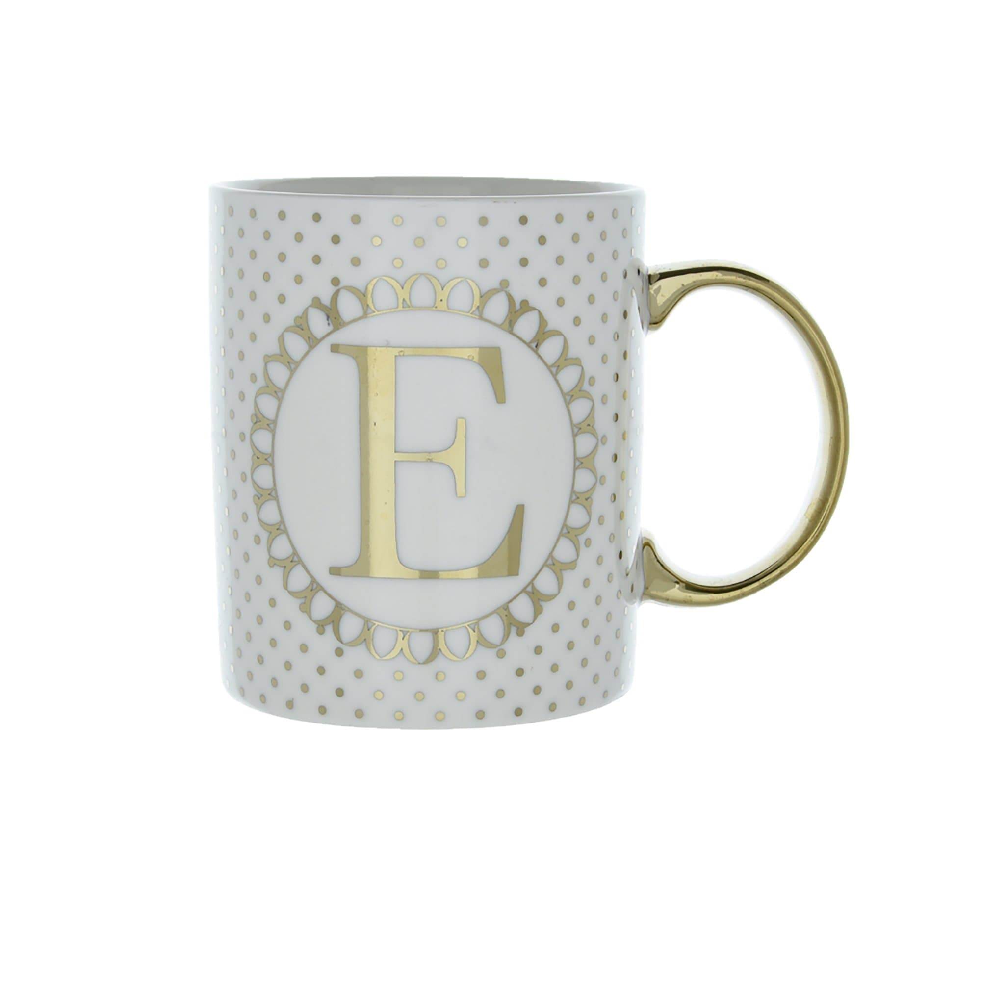 Candlelight Home Mugs Initial Straight Sided Mug E Gold 8cm 6PK