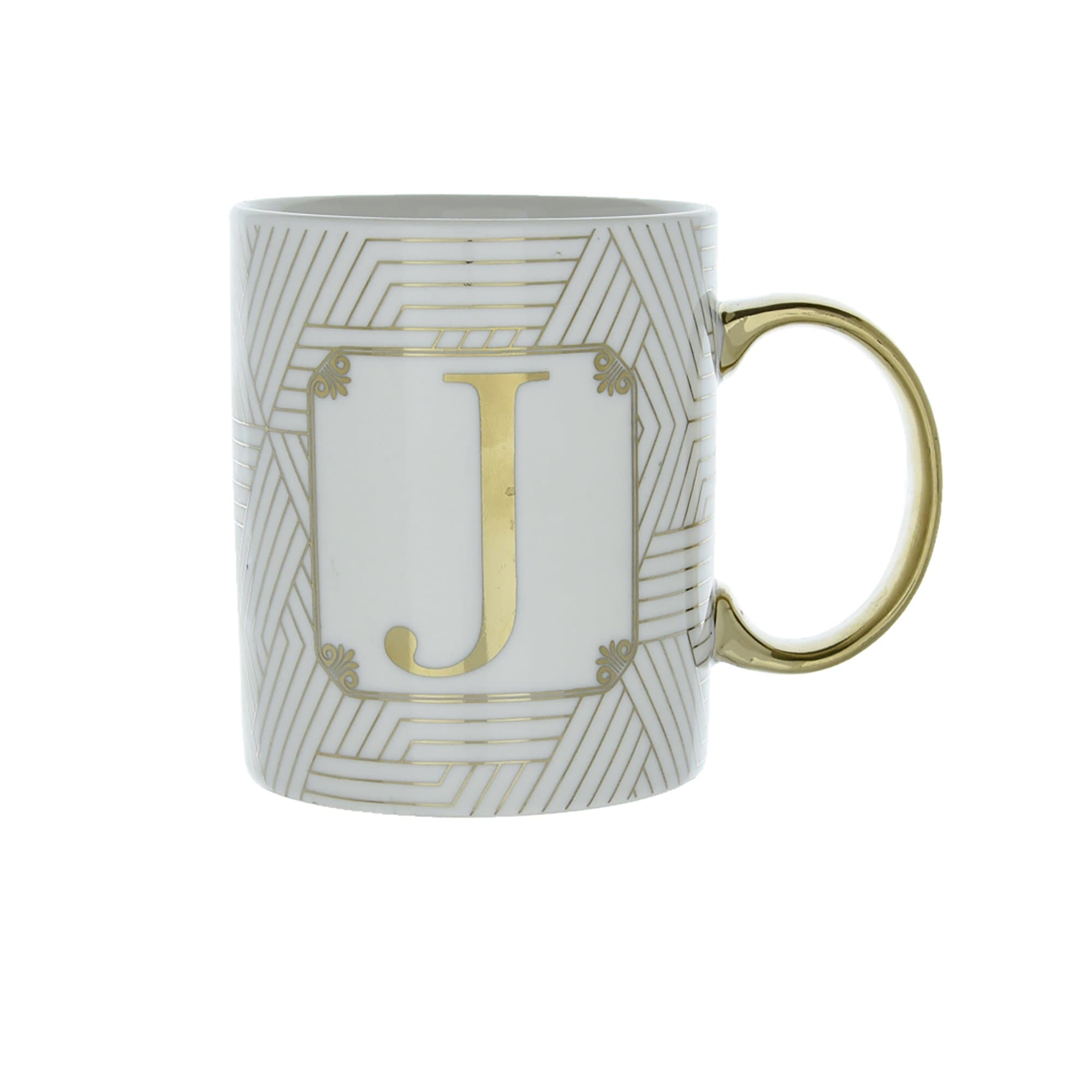 Candlelight Home Mugs Initial Straight Sided Mug J Gold 8cm 6PK