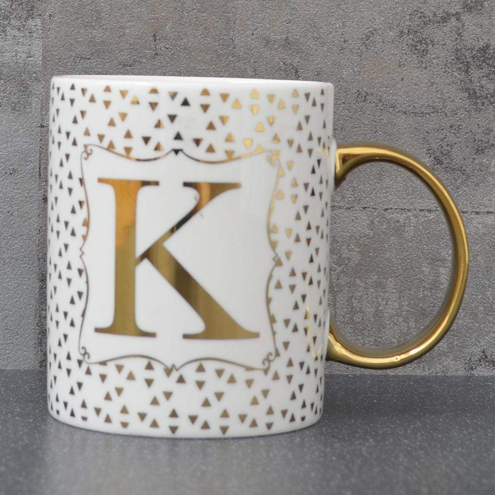 Initial Straight Sided Mug K Gold 8cm 6PK