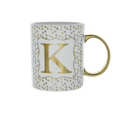 Candlelight Home Mugs Initial Straight Sided Mug K Gold 8cm 6PK