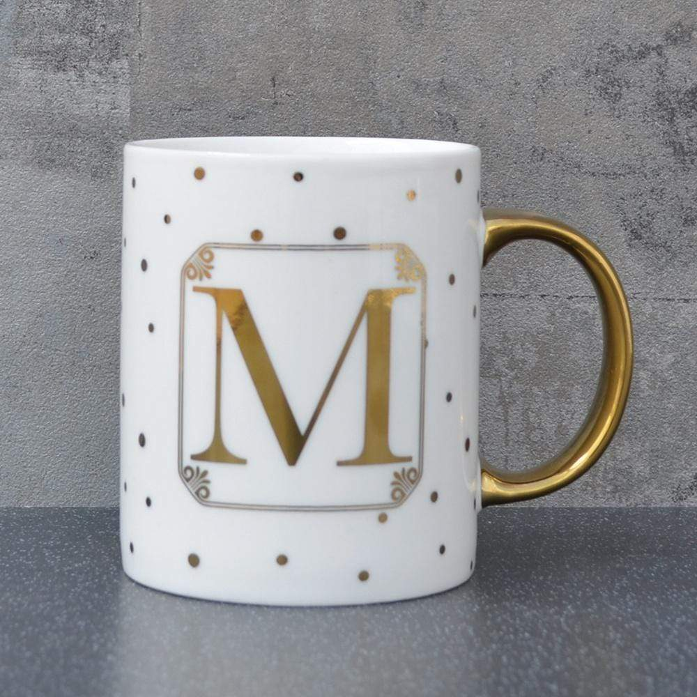 Initial Straight Sided Mug M Gold 8cm 6PK