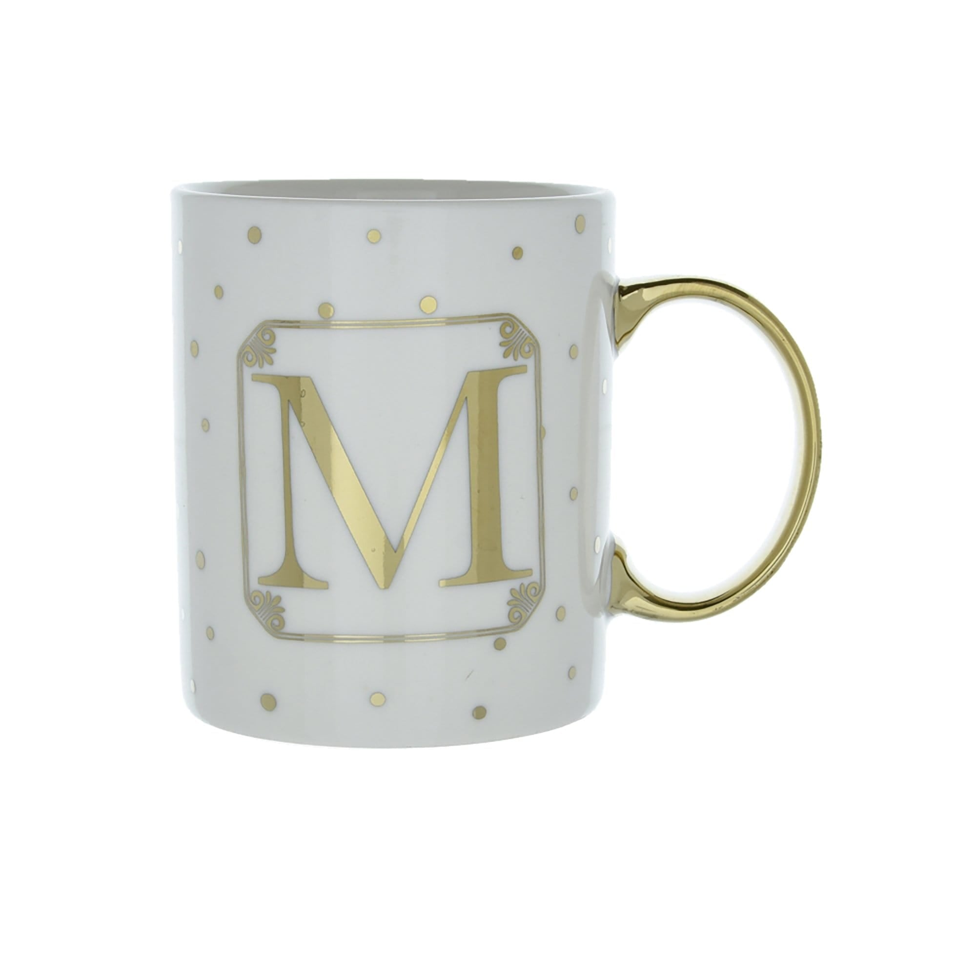 Candlelight Home Mugs Initial Straight Sided Mug M Gold 8cm 6PK