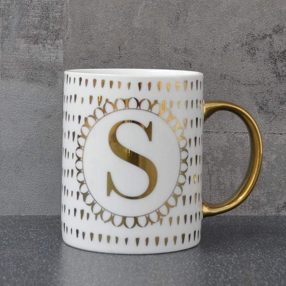 Initial Straight Sided Mug S Gold 8cm 6PK