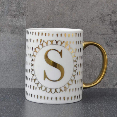 Candlelight Home Mugs Initial Straight Sided Mug S Gold 8cm 6PK