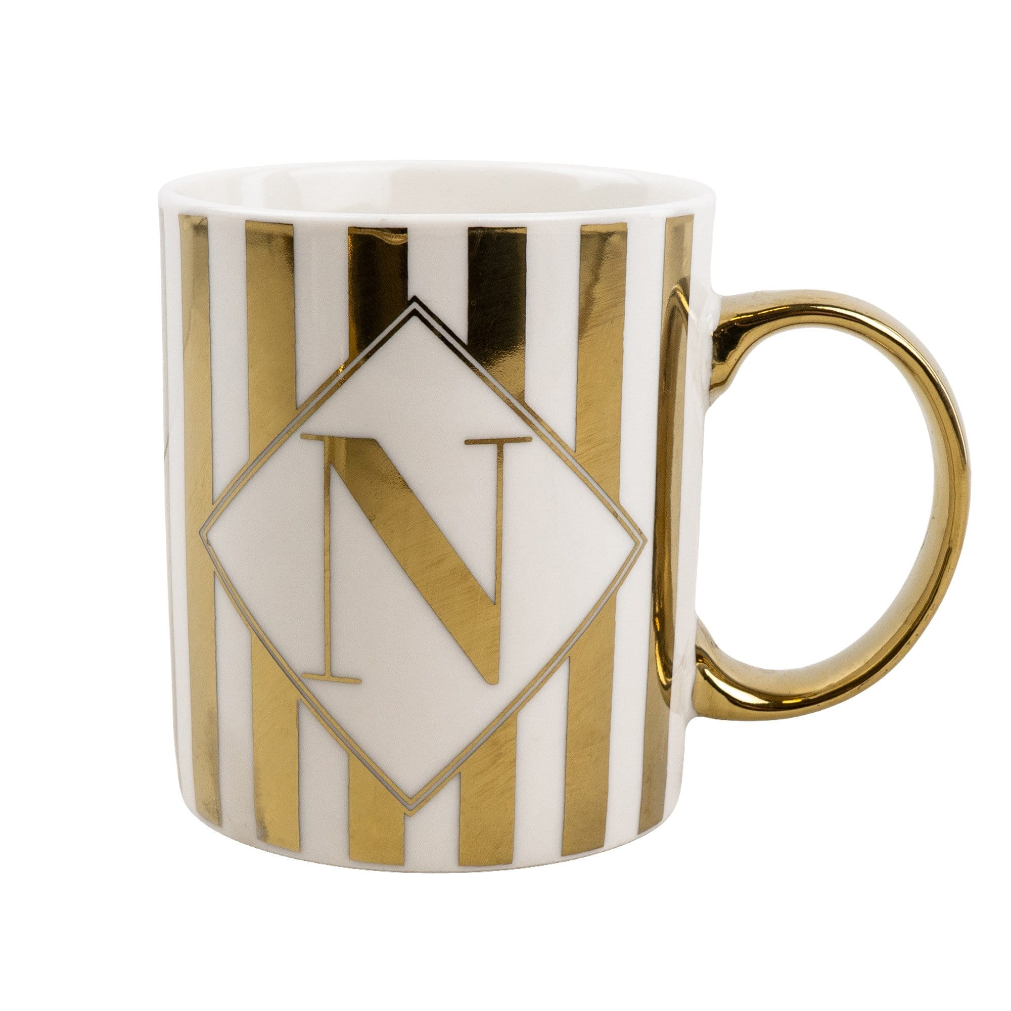 Candlelight Home Mugs Initial Straight Sided N Mug Gold Patterned 8cm 4PK