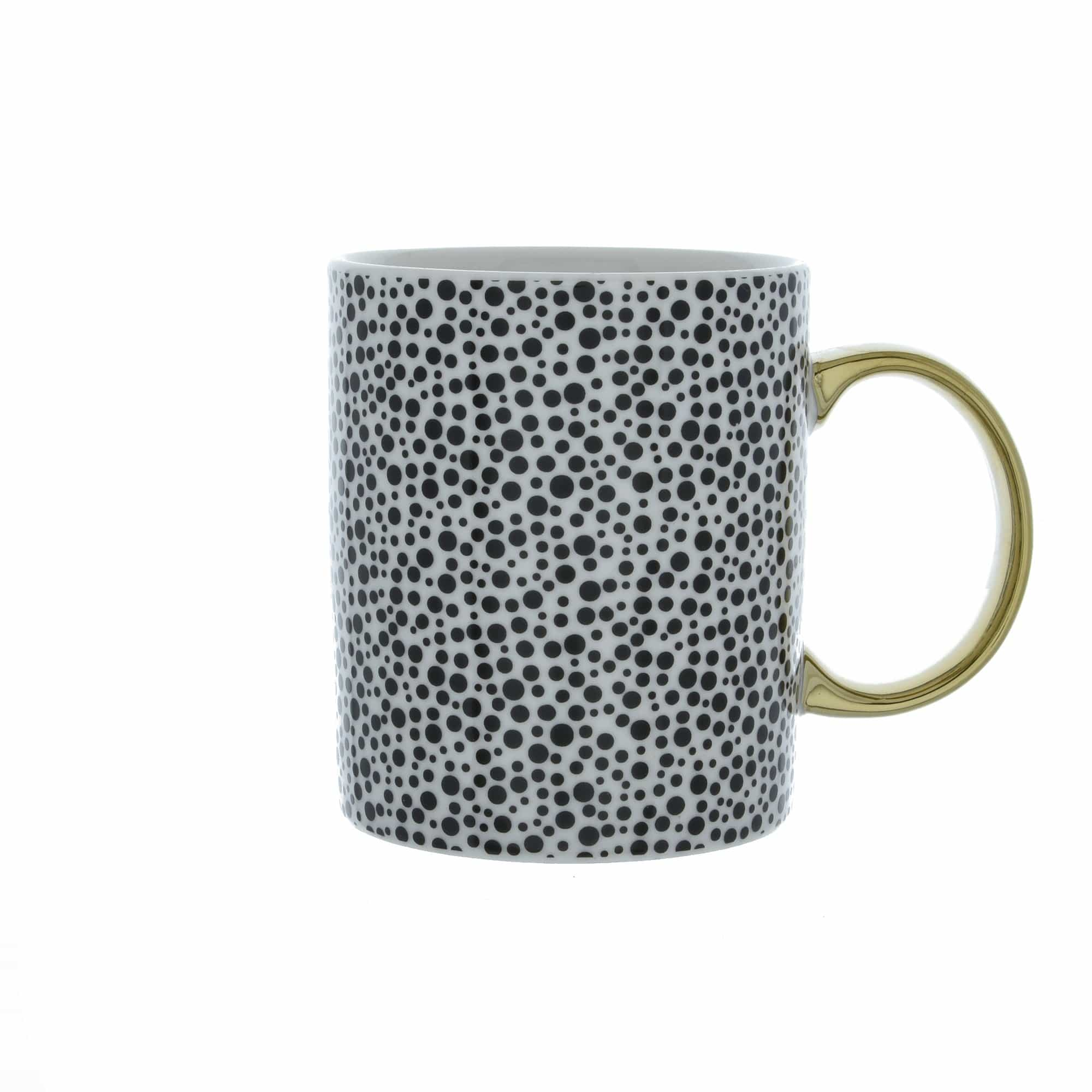 Candlelight Home Mugs Monochrome Dotty MugGold 8cm 6PK