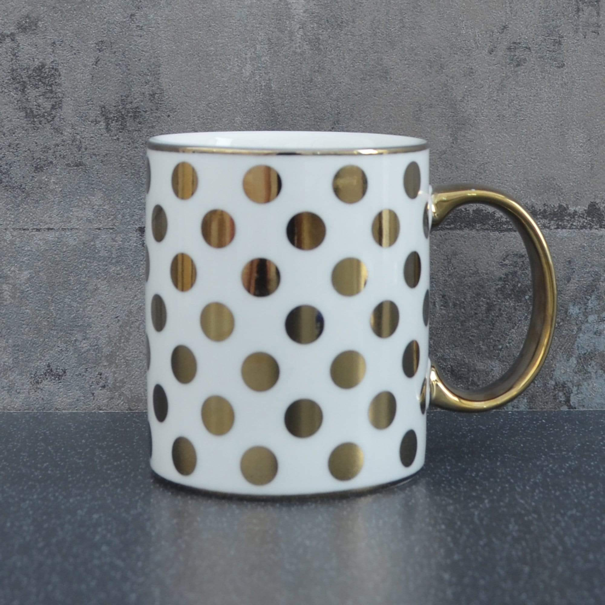 Candlelight Home Mugs Spotty Straight Sided Mug Gold Electroplated 9.7cm 6PK