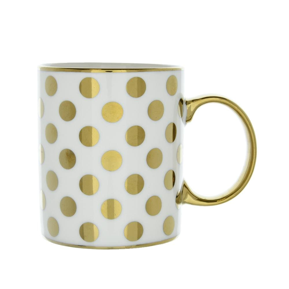 Spotty Straight Sided Mug Gold Electroplated 9.7cm 6PK