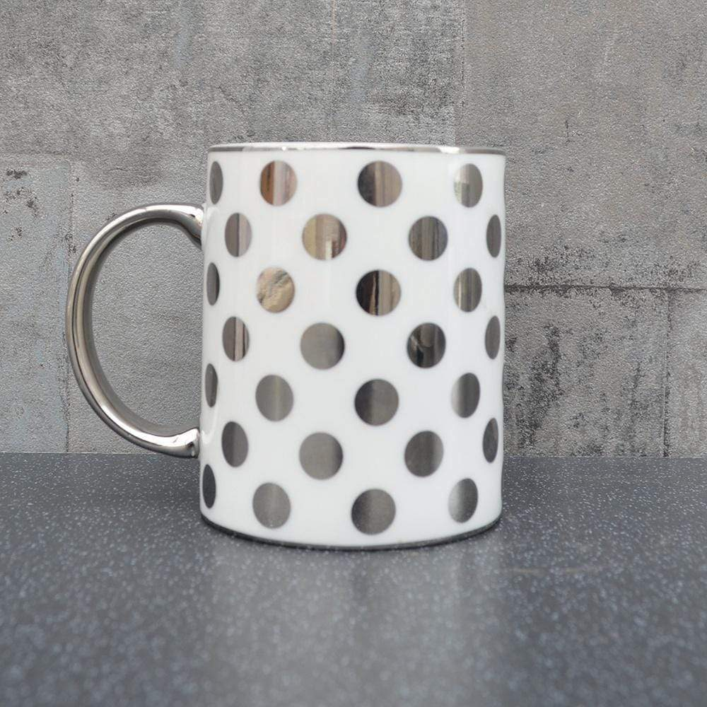 Candlelight Home Mugs Spotty Straight Sided Mug Silver Electroplated 9.7cm 6PK