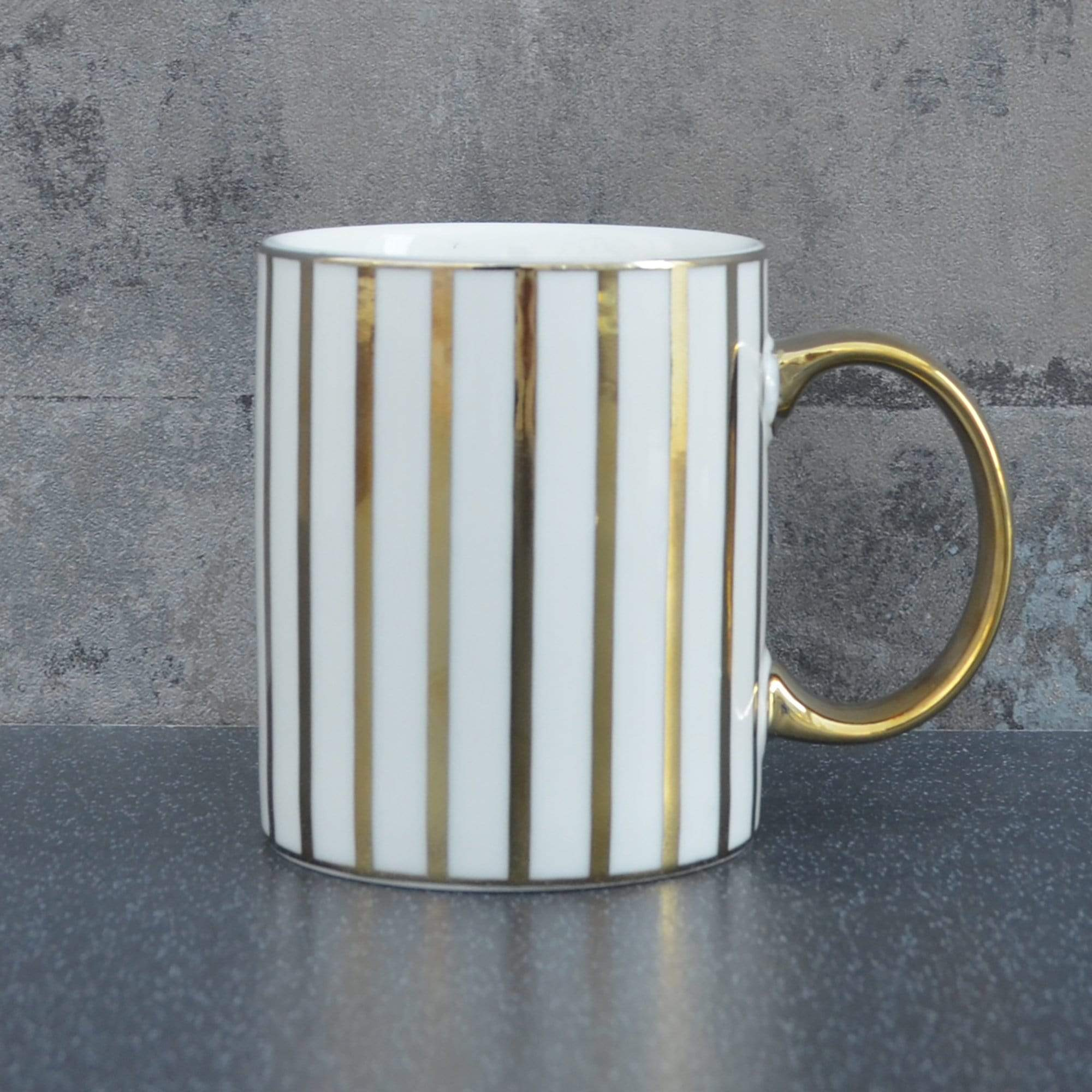 Candlelight Home Mugs Stripy Straight Sided Mug Gold Electroplated 3.7cm 6PK
