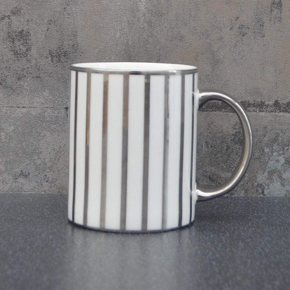 Candlelight Home Mugs Stripy Straight Sided Mug Silver Electroplated 3.7cm 6PK