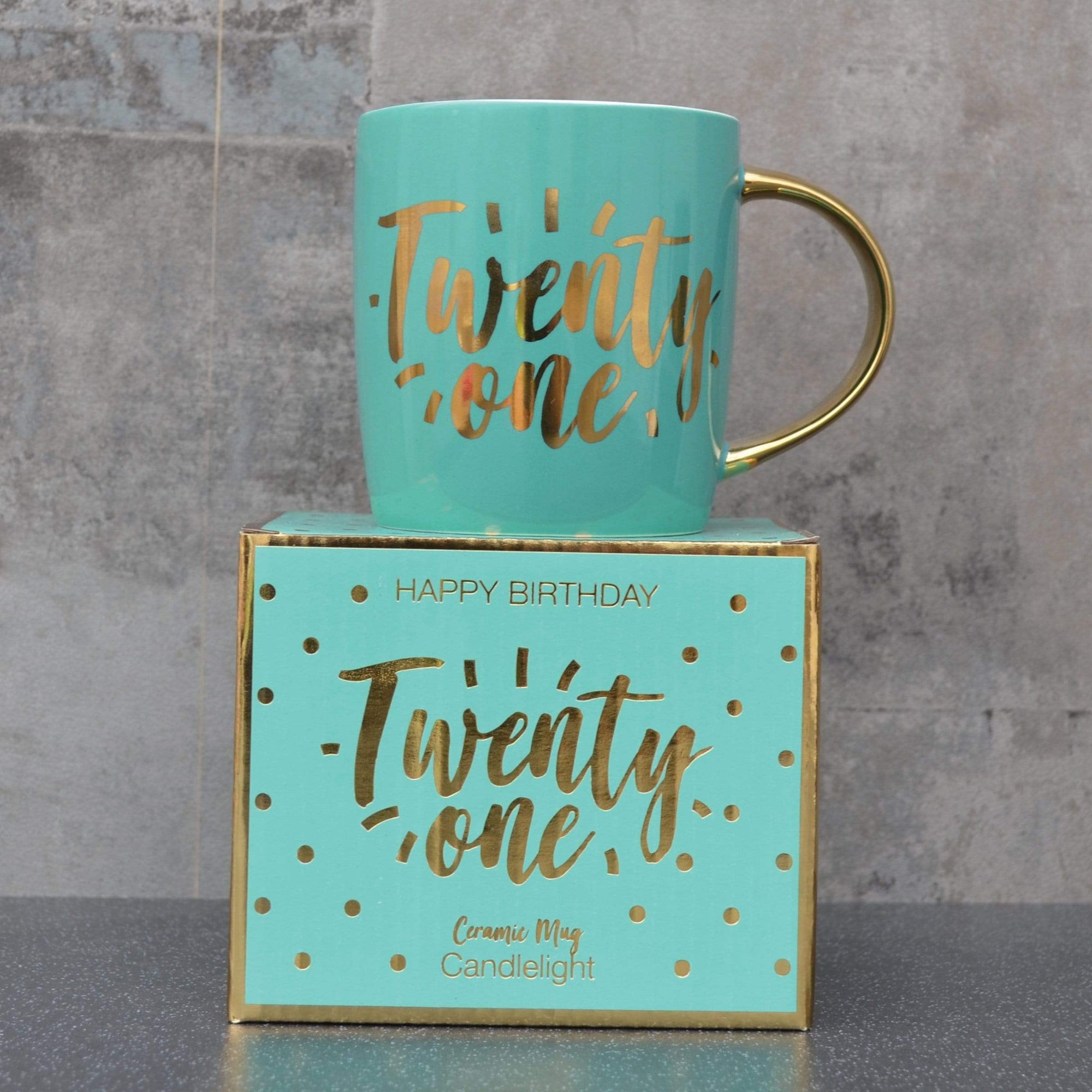 Candlelight Home Mugs Twenty One Milestone Mug in Gift Box Teal 9.2cm 6PK