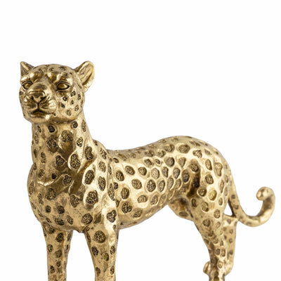 Candlelight Home Ornaments Gold Standing Resin Leopard 21cm Tall 3PK