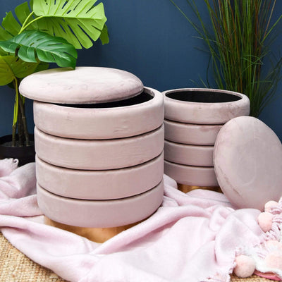 Candlelight Home Ottomans Set of 2 Storage Ottomans with Gold Base Dusky Pink 44cm 1PK