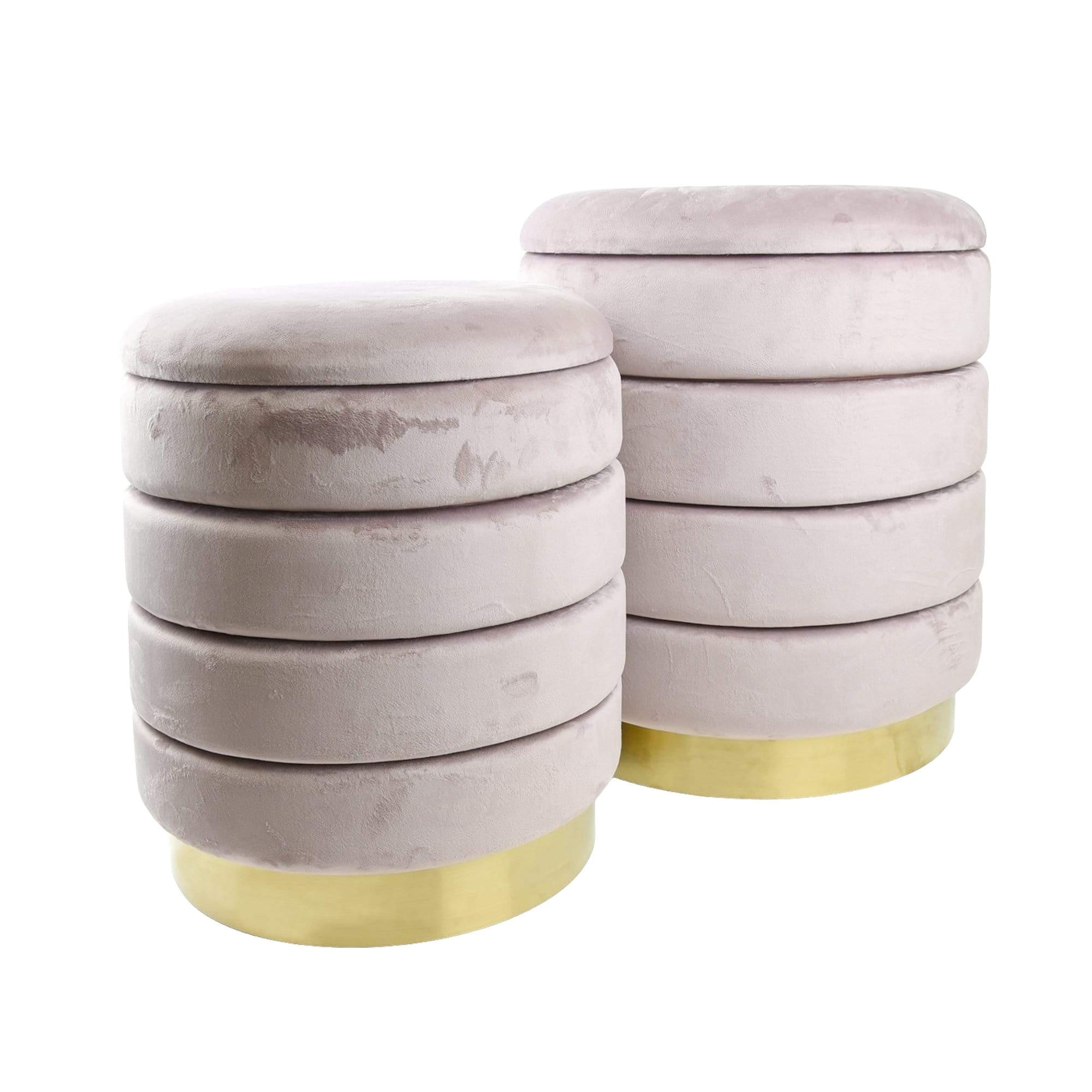 Set of 2 Storage Ottomans with Gold Base Dusky Pink 44cm 1PK