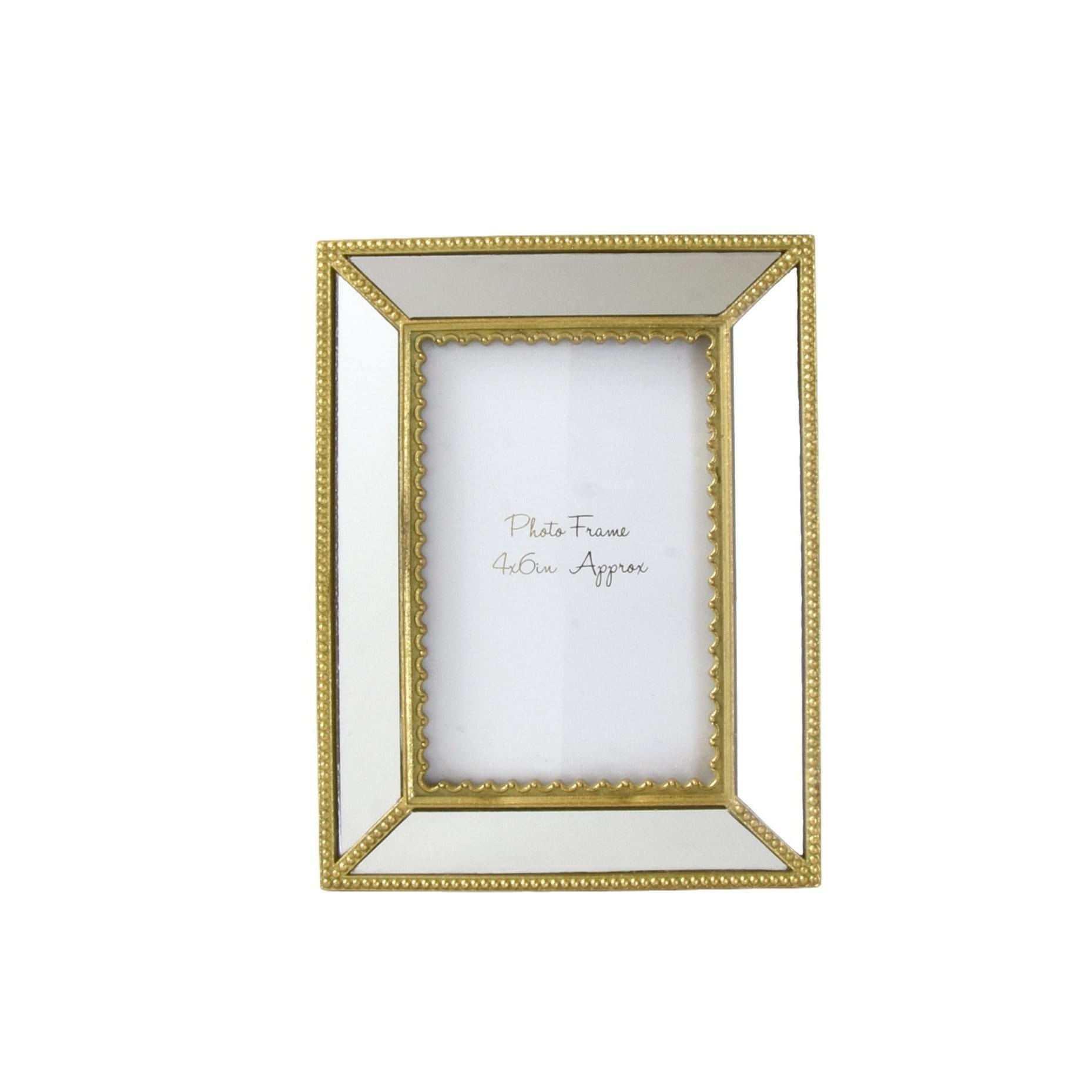 "Ornate Photo frame with Mirrored Panels and Gold Ornate Edge 4""x6"" 1PK"