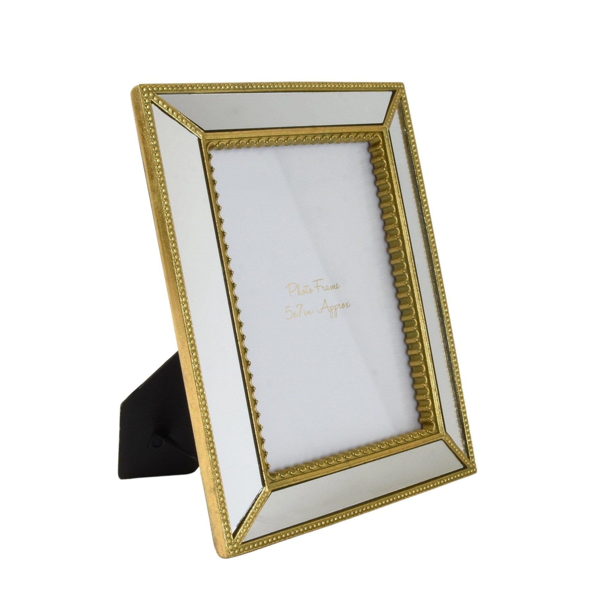 "Ornate Photo Frame with Mirrored Panels and Gold Edging 5 x 7"" 1PK"