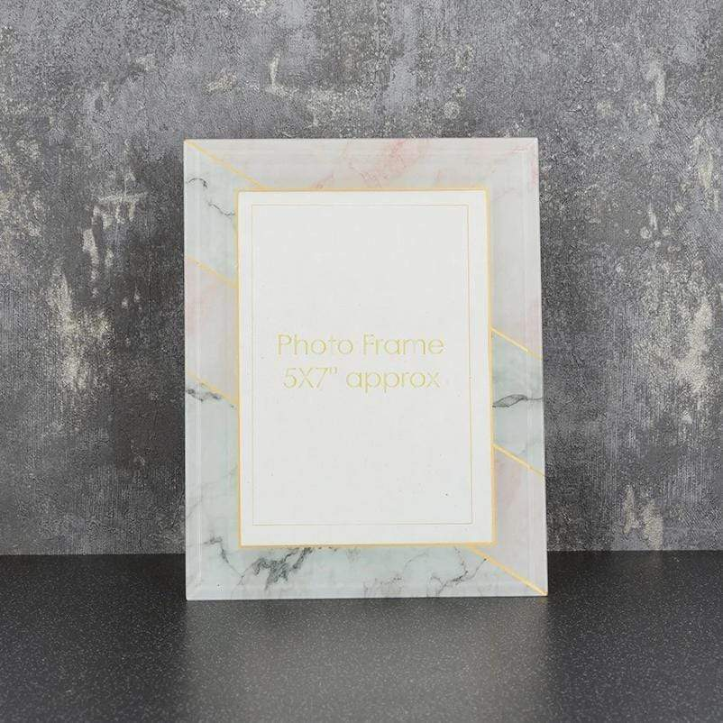 "Glass Photo Frame Marble Effect Grey and Pink 5x7"" 6PK"
