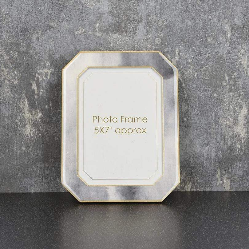 "Candlelight Home Photo & Picture Frames Photo Frame Marble Effect with Gold Edges Grey 5x7"" 6PK"