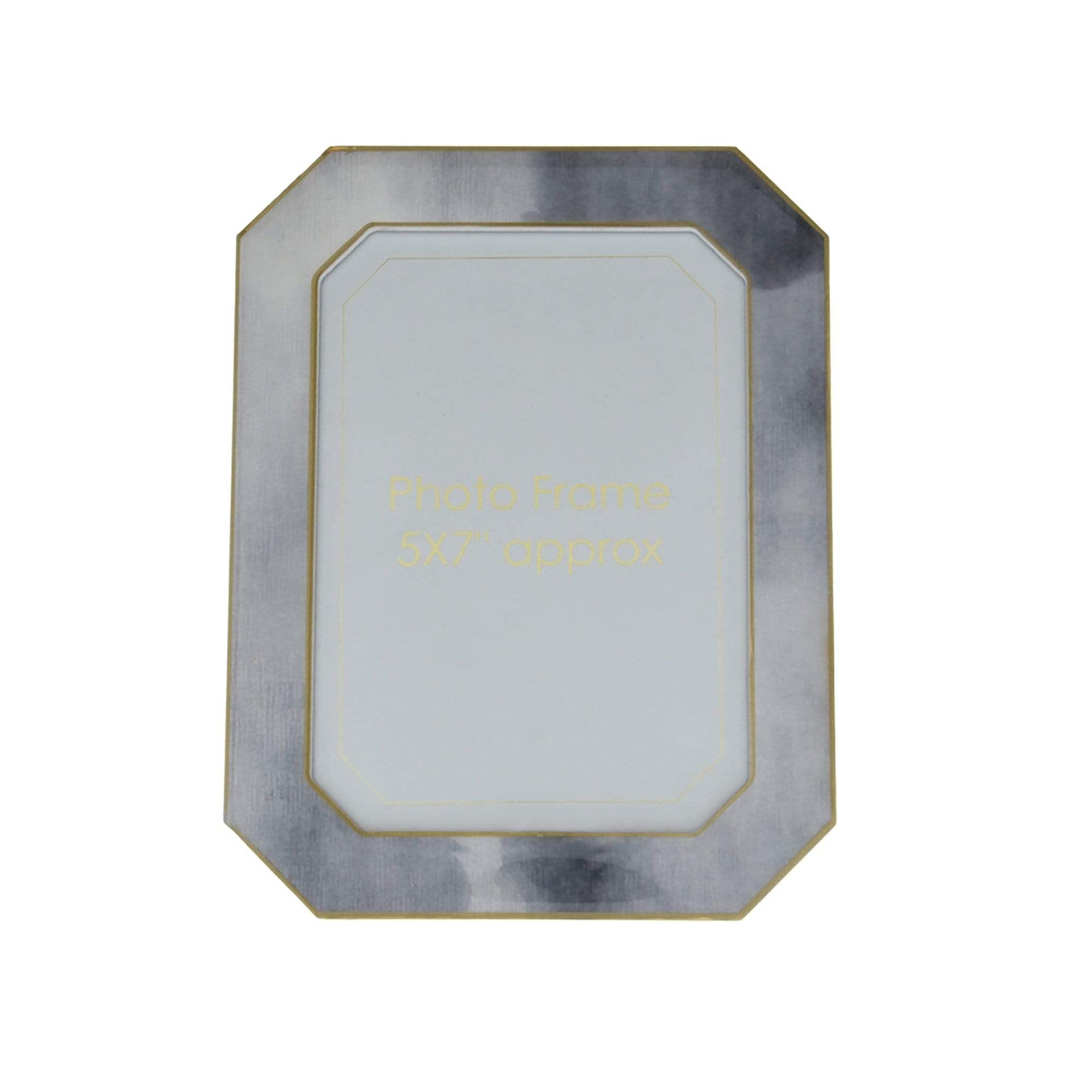 "Photo Frame Marble Effect with Gold Edges Grey 5x7"" 6PK"