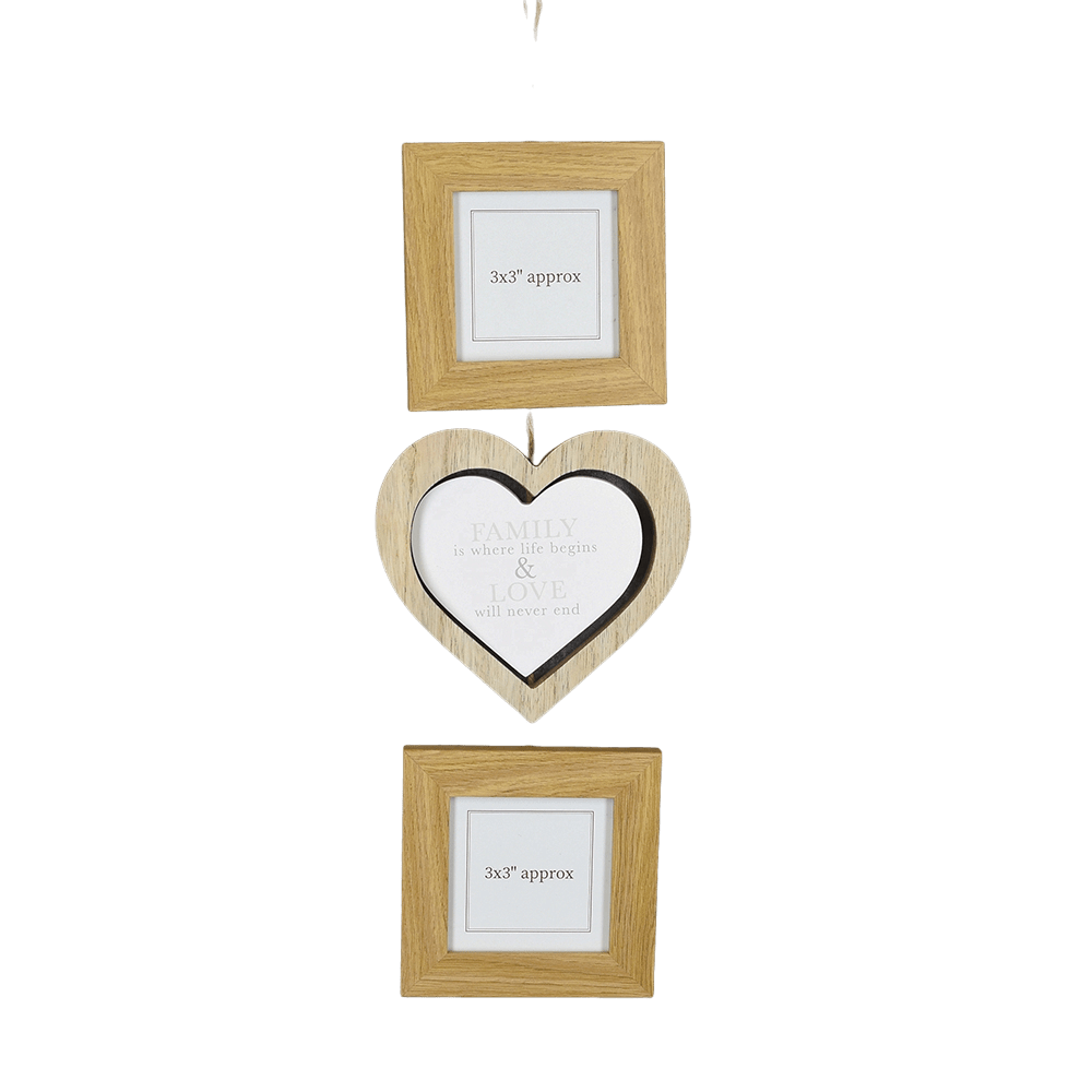 "Photo Frame Set of 3 Hanging with MDF Frames Light Oak 3x3"" 6PK"