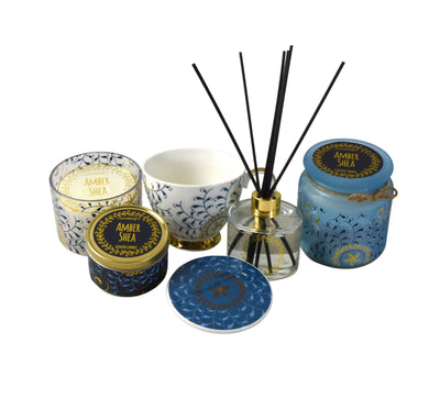 Candlelight Home Reed Diffuser 6PC Bohemian Gift Set Amber Shea Blue in Gift Box 1PK