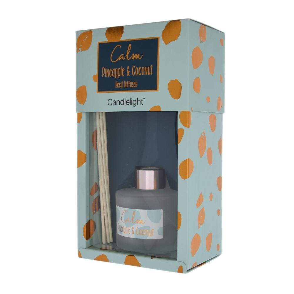 Candlelight Home Reed Diffuser Candlelight Calm Reed Diffuser in Gift Box Pineapple and Coconut Scent 100ml 6PK