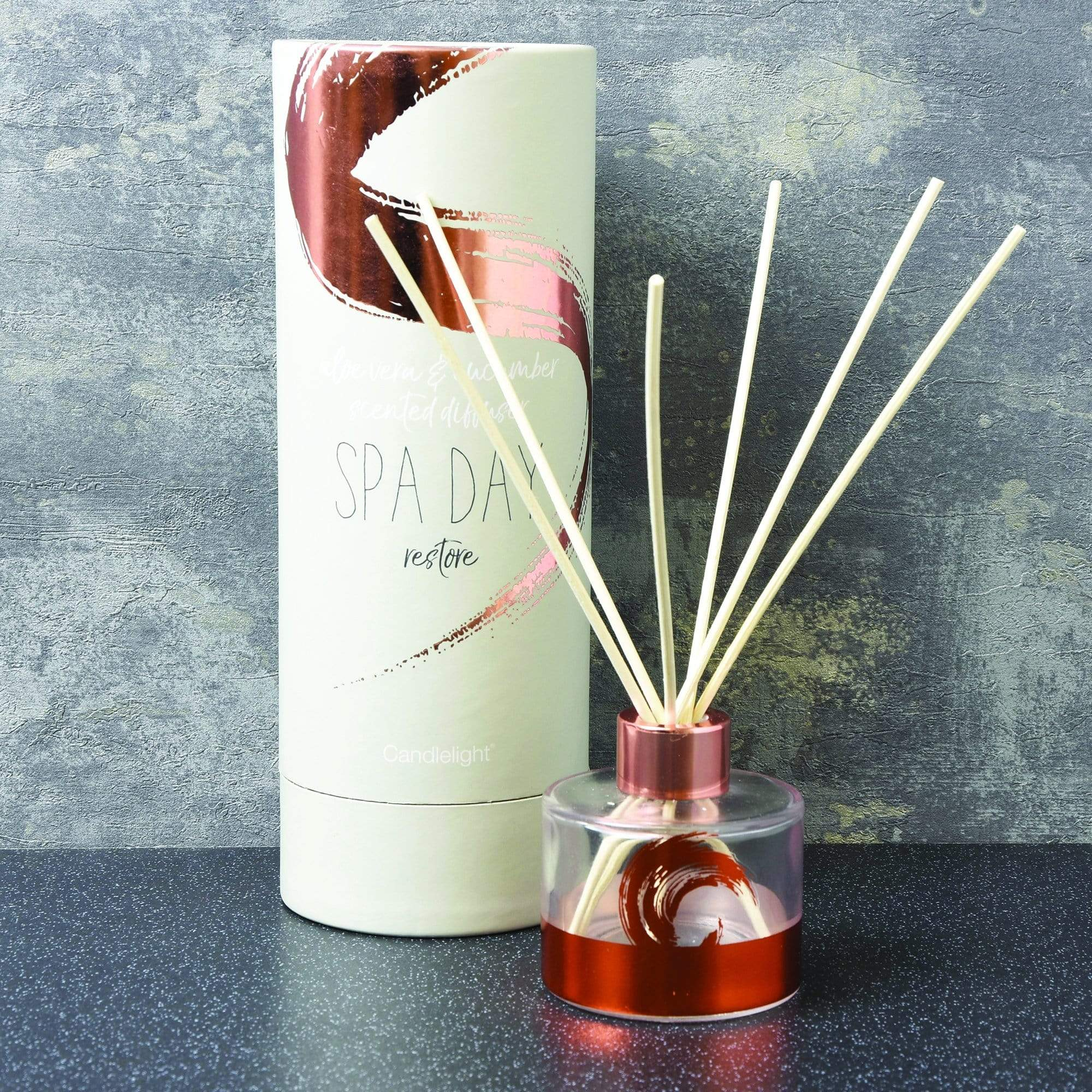 Candlelight Home Reed Diffuser Candlelight Spa Day Restore Reed Diffuser Aloe Vera & Cucumber Scent 150ml 6PK