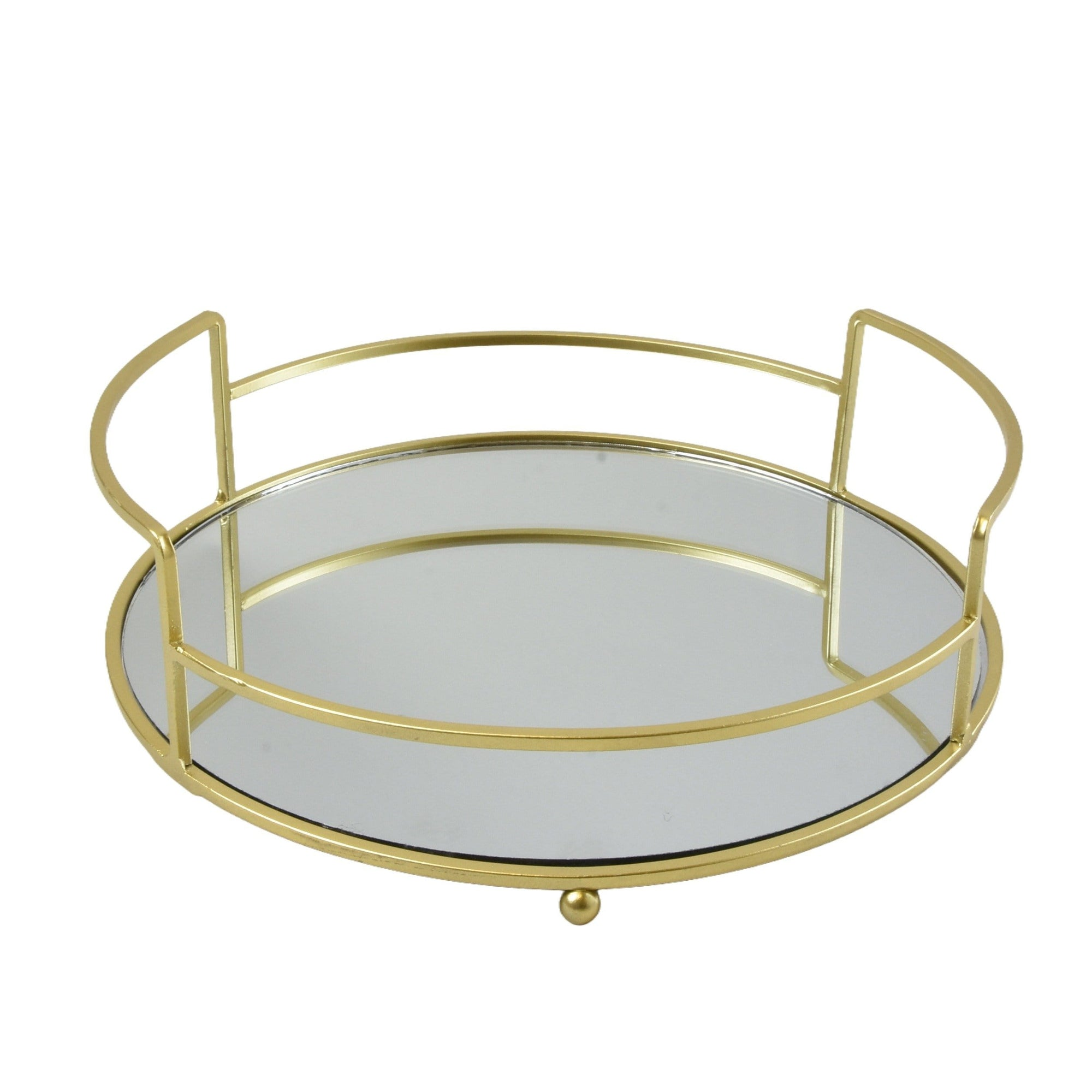 Round Art Deco Gold Mirrored Tray 24cm 2PK