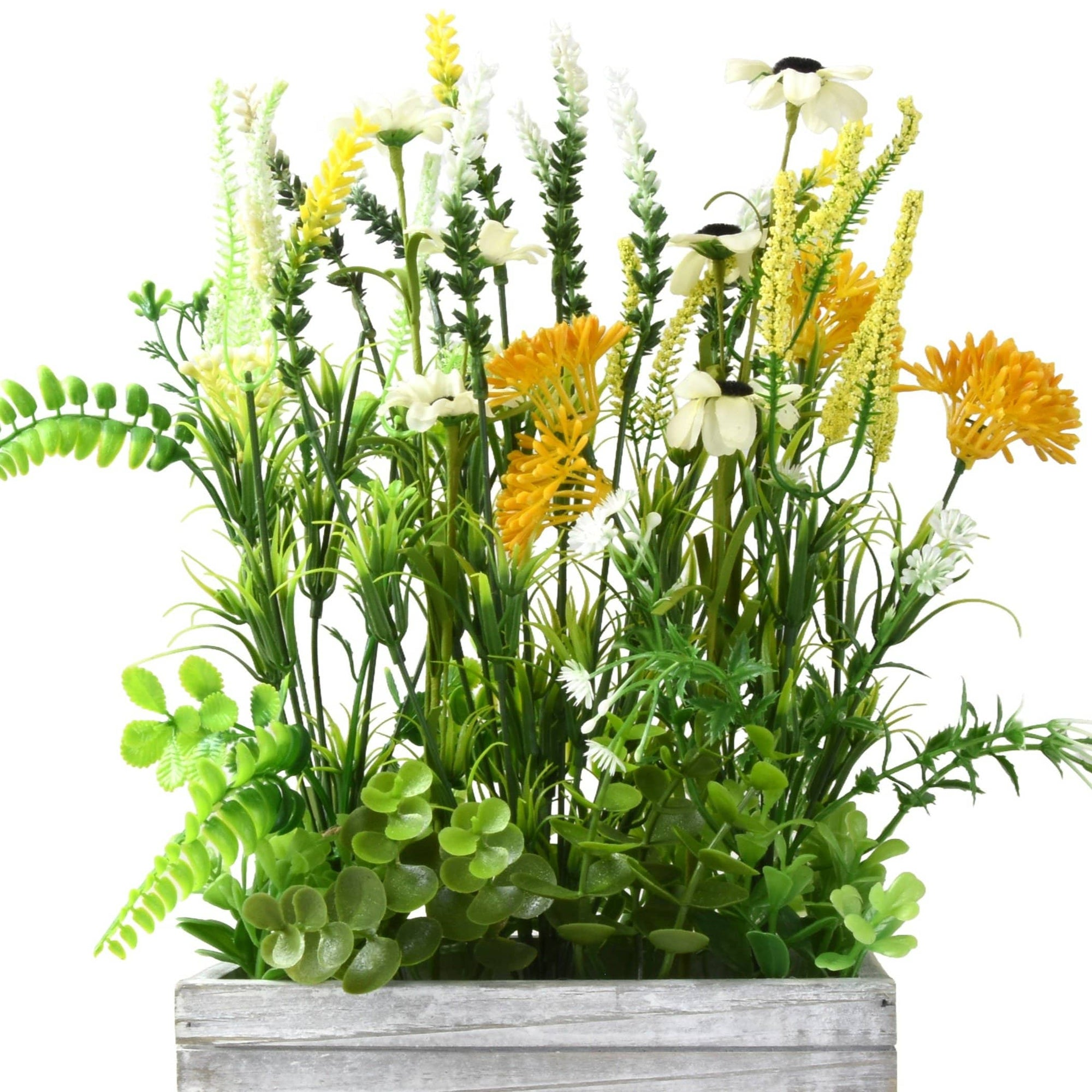 Faux Wild Flowers Window Box Arrangement In Rustic Wooden Crate 6pk Candlelight Home
