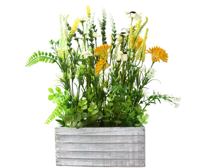 Candlelight Home Rustic Wild Flowers Arrangement in Wooden Crate