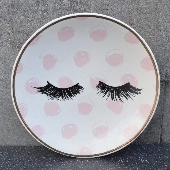 Eyelash Round Soap Dish Pink and Gold 12cm 4PK