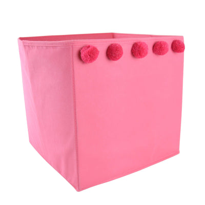 Candlelight Home Storage Boxes Storage Box with Pom Poms Pink 30cm 1PK